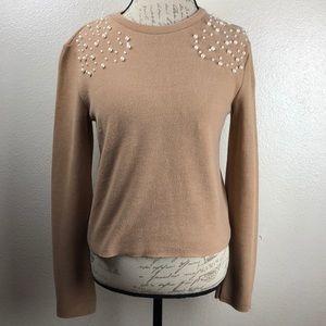 Zara Tan Faux Pearl Long Sleeve Top/Sweater Sz-M